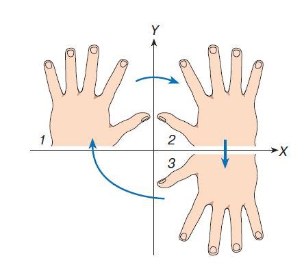 Если зеркальное изображение левой руки 1 относительно оси $Y$ представляет правую руку 2, которую путем вращения в плоскости $XY$ нельзя совместить с левой, то зеркальное изображение правой руки 2 относительно оси $X$ вновь представляет левую руку 3, которая может быть совмещена с 1 путем поворота в той же плоскости.