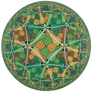 ADS пространство в изображении художника Морица Эшера. Картинка показывает координатные, а не физические расстояния, то есть на самом деле все рыбы одинаковы в размере