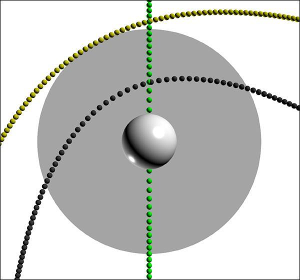 Разные варианты траектории движения ПЧД, просчитанные астрофизиками. Серый круг обозначает Солнце. Как и следовало ожидать, чёрная дыра, едва касающаяся «поверхности» Солнца (этот случай обозначен жёлтым), не возбуждает заметных осцилляций, тогда как дыры, проникающие вглубь звезды, могут давать чёткий сигнал.